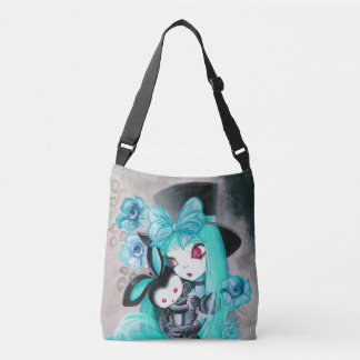 Sweet Gothic Girl With Bunny Crossbody Bag