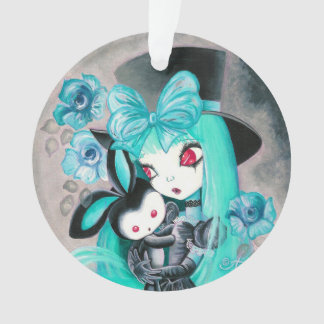 Sweet Gothic Girl With Bunny Ornament