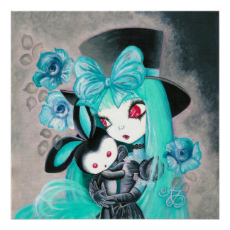 Sweet Gothic Girl With Bunny Poster