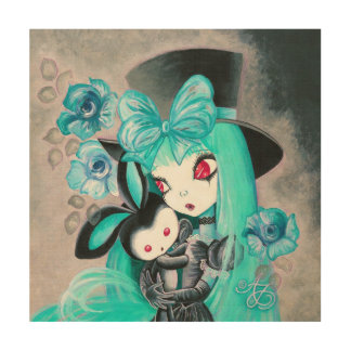 Sweet Gothic Girl With Bunny Wood Wall Art