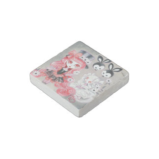 Sweet Gothic Party Girls Stone Magnet