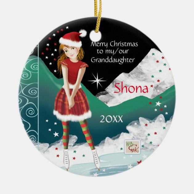 GRANDDAUGHTER GIRL ICE SKATING SKATE SPORTS PERSONALIZED CHRISTMAS TREE ORNAMENT