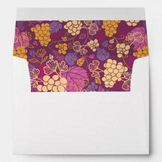 Sweet grape vines pattern background envelope