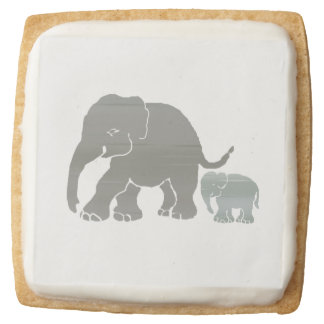 Sweet Graphic Grey on White Elephant Lover's Square Shortbread Cookie