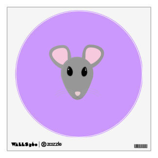 sweet gray mouse face wall sticker