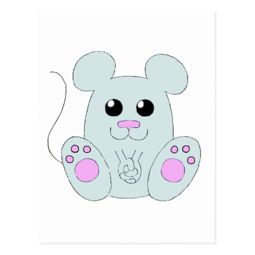 Sweet Gray Mouse Postcards