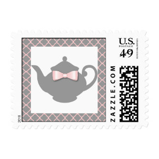 Sweet Gray + Pink Teapot Tea Party Postage Stamp