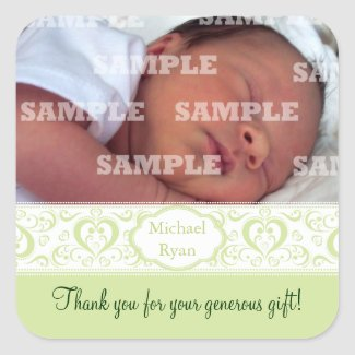 Sweet Green Band Baby Thank You Stickers sticker
