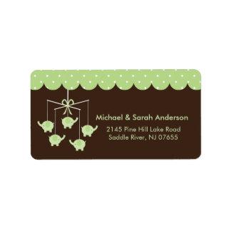 Sweet Green Elephant Mobile Address Label
