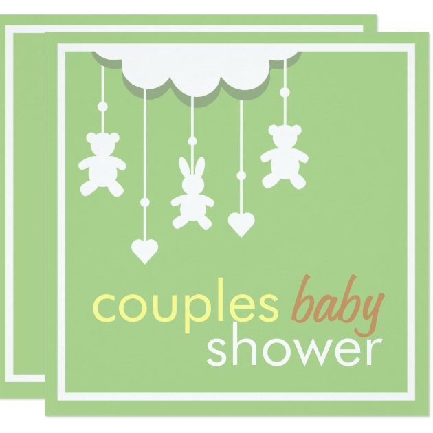 Sweet Green Mobile Couples Baby Shower Invitation | Zazzle