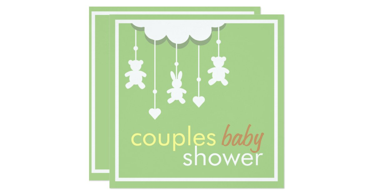 sweet green mobile couples baby shower invitation zazzle