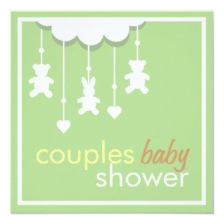 Sweet Green Mobile Couples Baby Shower Invitation