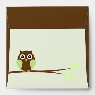 Sweet Green Owl Envelope