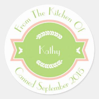 Sweet Green & Pink Custom Label Classic Round Sticker