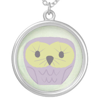 Sweet Green & Purple Owl Girls Name Necklace