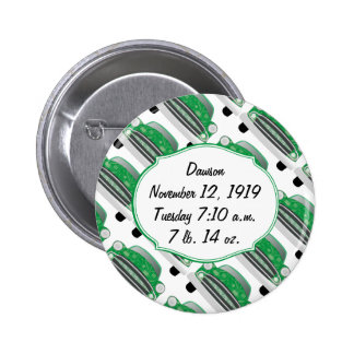 Sweet Green Retro Car Baby Shower Gifts Pinback Buttons