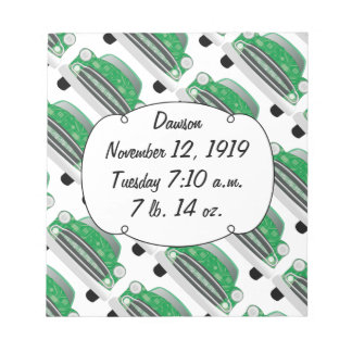 Sweet Green Retro Car Baby Shower Gifts Notepad