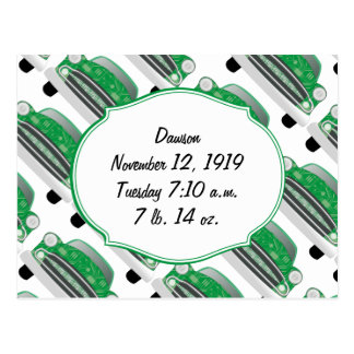 Sweet Green Retro Car Baby Shower Gifts Postcard