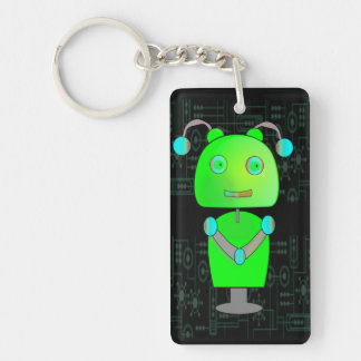 Sweet Green Robot on a Digital Background Keychain