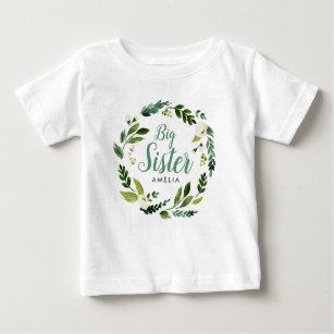 df5c68d169df Sweet Greenery Floral Big Sister Name Monogram Baby T-Shirt