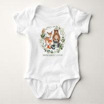 Sweet Greenery Woodland Forest Animals Monogram Baby Bodysuit