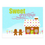 Sweet greeting gingerbread house holiday postcard