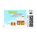 Sweet greeting gingerbread house holiday stamps