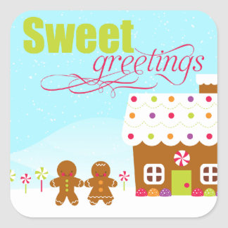 Sweet greeting gingerbread house holiday stickers