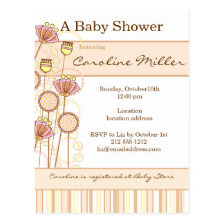 Sweet Groovy Blooms Baby Shower Post Cards