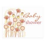 Sweet Groovy Blooms Baby Shower Postcard