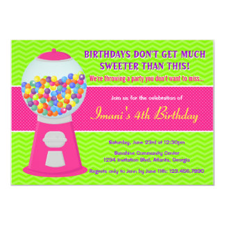 Sweet Gumball Candy Birthday Party Personalized Announcement