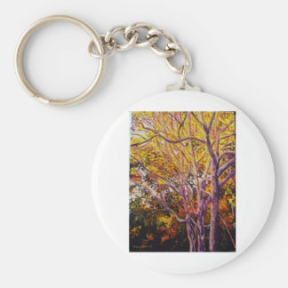 Sweet Gums at Sunset Painting Basic Round Button Keychain