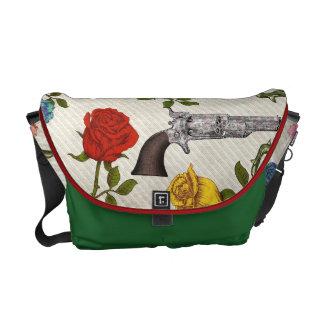 Sweet Guns and Roses Messenger Bags