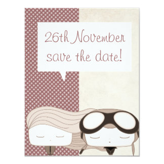 sweet hair girl and pilot save the date card