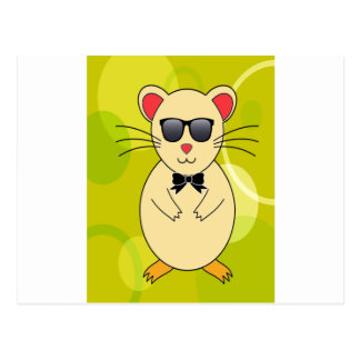Sweet Hamster with Sunglasses and Ribbon Bow Postcard