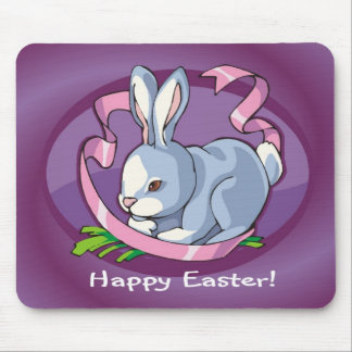 Sweet Happy Easter Bunny with Ribbon Mousepads