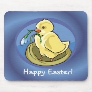 Sweet Happy Easter Chick with Flower Mouse Pad