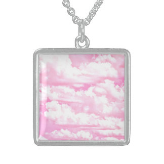 Sweet Happy Fuchsia Pink Clouds Sterling Silver Necklace