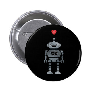 Sweet, Happy Robot with Little Red Heart Button