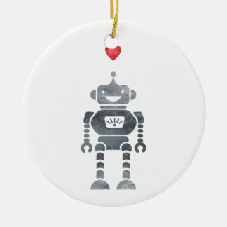Sweet, Happy Robot with Little Red Heart Ceramic Ornament