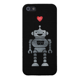 Sweet, Happy Robot with Little Red Heart Cover For iPhone SE/5/5s
