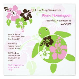 "Sweet Hawaiian Honu Baby Shower Invite - Square 5.25"" Square Invitation Card"