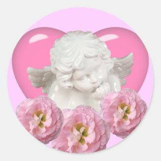 Sweet Heart 'Baby Angel' Design Classic Round Sticker