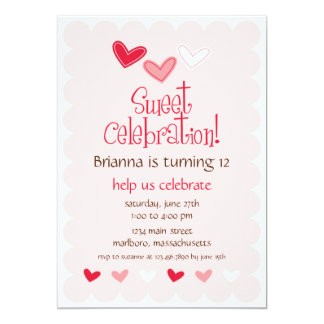 Sweet Heart Birthday Party Invitation