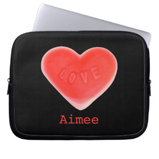 "Sweet Heart Black 'Name' 10"" laptop sleeve"