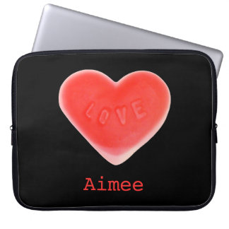 "Sweet Heart Black 'Name' 15"" laptop sleeve"
