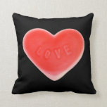 Sweet Heart Black two pattern throw pillow square