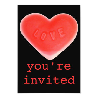 Sweet Heart Black 'You're Invited' invitation
