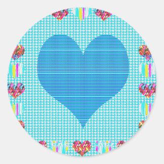 Sweet Heart Blue Classic Round Sticker
