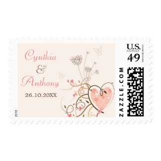 Sweet Heart & Butterfly Swirl Announcement Stamps